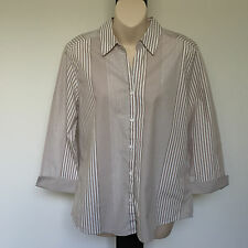 'BLACK PEPPER' EC SIZE '12' TAUPE & WHITE STRIPE 3/4 SLEEVE SHIRT