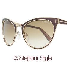 Tom Ford Cateye Sunglasses TF373 Nina 48F Brown/Rose Gold FT0373
