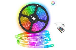 STRISCIA A LED SMD 5050 RGB 5 METRI BOBINA CON ALIMENTATORE +TELECOMANDO 150 LED