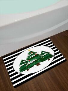 Green Fir Christmas Tree Shower Curtain Black White Stripes Bath Accessory Sets