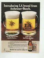 LA Beer from Anheuser-Busch Vintage 1984 Print Ad