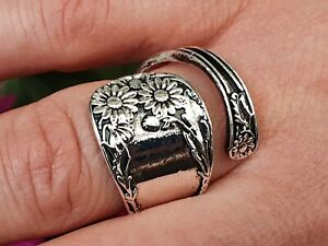 Daisy Flower Spoon Ring Fashion Adjustable Ring Size 7-10 Silver Plated Metal r1