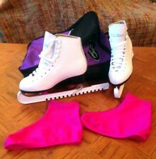 Ll Bean Figure Skating White Ice Skates Size 4.5 with Pink Boot Covers, White Bl