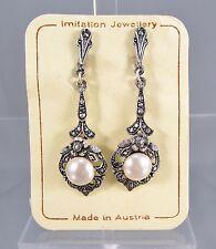 Vintage Austria Silver Tone Dangling Faux Pearl Clip On Earrings NOS #438