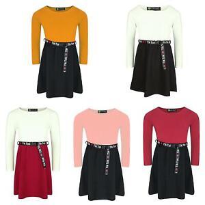 Girls Skater Dress Long Sleeve Top Textured Skirt Tik Tok Belt Casual 3-14 Years