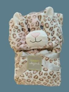 NWT Blankets And & Beyond Plush Pink Hooded Blanket Cheeta Cat Baby Girl NEW