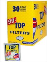 TOP Filter Tips 15MM - Box 30 Bags - Premium Cigarette RYO Blue - 100 Tip Bag