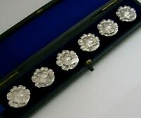 BEAUTIFUL CASED ART NOUVEAU SOLID STERLING SILVER BUTTONS 1901-1902 ANTIQUE