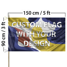 Custom Flag with Your Design, 3x5 feet size, Single Sided, with Laces and pocket