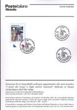 ITALIA 2001 MUSEO ARCHEOLOGICO  BOLLETTINO COMPLETO DI FRANCOBOLLI FDC
