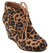 BellaMarie Women's Sally-5 Almond Toe Lace up Wedge Ankle Booties