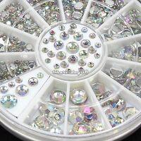 6 Size 300pcs Nail Art 3D Crystal Glitter Rhinestone Tips Decoration Wheel C1MY