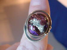 (#DR7-5) Size 7 DICHROIC GLASS Sterl SILVER RING PURPLE ORANGE