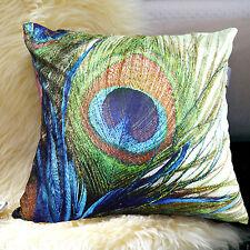 "Peacock feather design decorative pillowcases 18""x18"" Velvet Shell Blue Square"