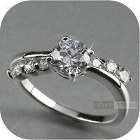 18k white gold gp made with swarovski crystal fashion dress ring us 6.5 0.75ct