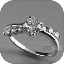 18k white gold gp made with swarovski crystal ring fashion dress US 5.5 0.75ct