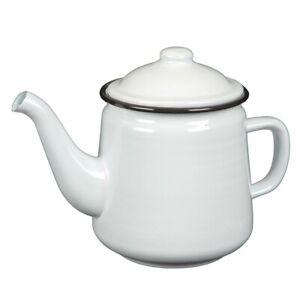 Teapot, Cover Pot, Enamel Tea Pot Black White Retro Jug 33.8oz