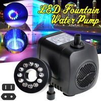 Quiet Submersible Fountain Water Pump LED Light Fountain Pond Fish Tank Garden