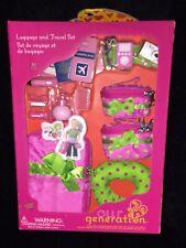 NIB Our Generation POLKA DOT LUGGAGE & TRAVEL SET 18 Doll American Girl DARLING