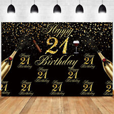 21th Black Gold Backdrop Birthday Party Photo Background Decor Banner Prop