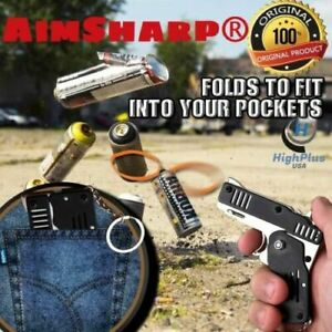 Rubber Band Gun Mini Metal Folding 6-Shot with Keychain High-quality