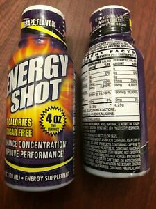 2 Energy Shots Grape Flavor 4 Oz Each 0 Calories Sugar FREE ENERGÉTICO S/AZÚCAR