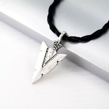 Silver Alloy Native American Arrow Head Pendant Black Tribal Choker Necklace New