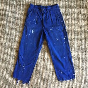 Vintage 1960s French Paint Splattered Sanforised Chore Workwear Trousers W31""