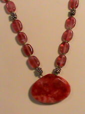 Red -Pink Glass Faceted Pendant Bead Necklace
