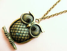 ACCESSORIZE LONG GOLD NECKLACE_DETAILED OWL PENDANT_BLACK DIAMANTE DETAIL