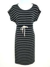 Motherhood Maternity Dress Womens Sz S Black White Striped Rayon Blend Waist Tie