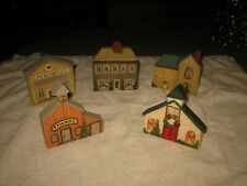 Set Of 5 Hand Painted Wooden Christmas Houses School Mercantile Church Village