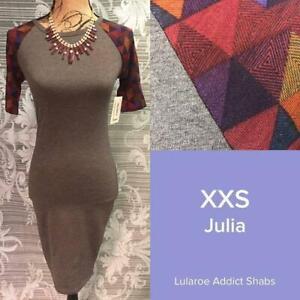 NW Lularoe Julia Pencil Dress GREY W/ RED XXS SMALL HARD TO FIND UNICORN