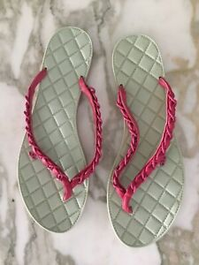 CHANEL Thong Sandals Fuchsia Pink Woman size 39.5 (US 9)