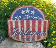 Americana Welcome Wall SIGN/Message Board*Primitive/Country Decor*FLAG*Stars