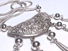 """Bib Necklace 28"""" 925 Silver Filigree"""