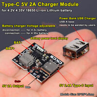 5V 2A Type-C USB 18650 Lithium Li-ion Battery Charger Charging Module Power Bank