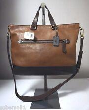 Coach Bleecker Fawn/Black Colorblock Leather Urban Commuter Bag F71453
