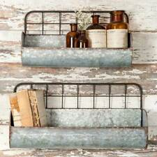 Country new pair of Industrial wire back wall planters