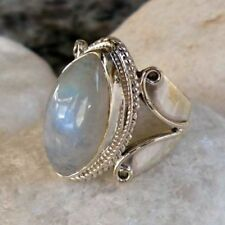 Unbehandelte echten Edelsteinen aus Sterlingsilber Ringe mit Mondstein