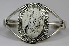 Navajo Indian Bracelet White Buffalo Turquoise Cuff Sterling Silver Robert Shake