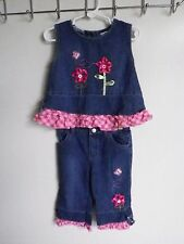 B.T. KIDS GIRLS SIZE 24 MONTHS TWO PIECE DENIM TOP AND JEANS WITH RUFFLES BLING