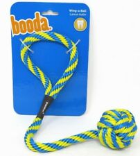 Booda Wing-A-Ball Medium Dog Toy Cleans Teeth Fetch Float Throw Tug Blue/Yellow
