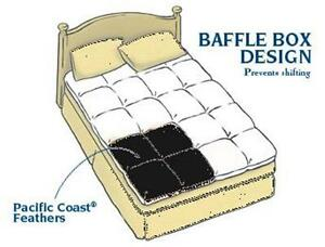 Pacific Coast® Luxe Loft™ Feather Bed Mattress Top Baffle Box Design All Sizes