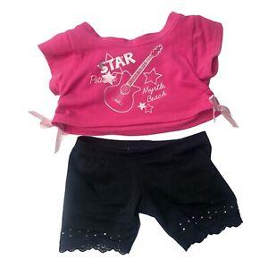 Build A Bear BABW Pink Myrtle Beach Tee Shirt Star Guitar Black Leggings Lace