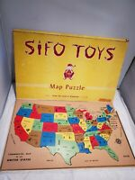Vtg Sifo United States Commercial Map Wood Jigsaw Puzzle Complete w/Box 1950s