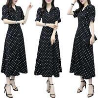 Women Polka Dot V-neck Dress Short Sleeve Vintage Maxi Long Evening Party Dress