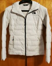 Women's North Face Jacket Coat Size Small Sm White Puffer Hood Goose Down Zip Up