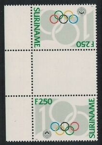 Suriname Cent of Intl Olympic Committee Gutter Pair Tete-beche 1994 MNH