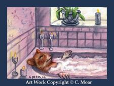 HAMSTER HOMEMAKERS Bubble Bath ACEO Art Limited Edition Sketch Card Print